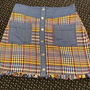 Zara Jean and plaid button up mini skirt